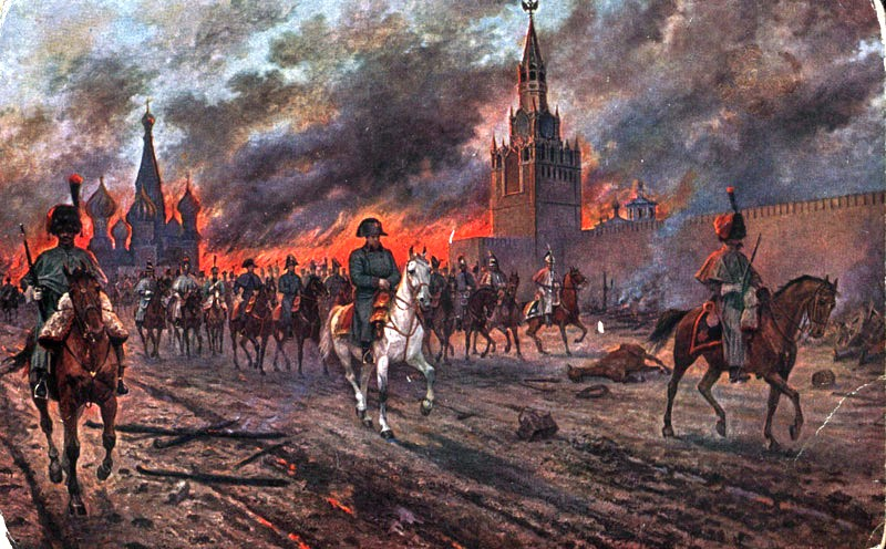 1812 Moscow fire during Napoleon invasion