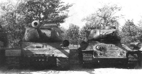 Soviet tanks IS-2 and T-34-85