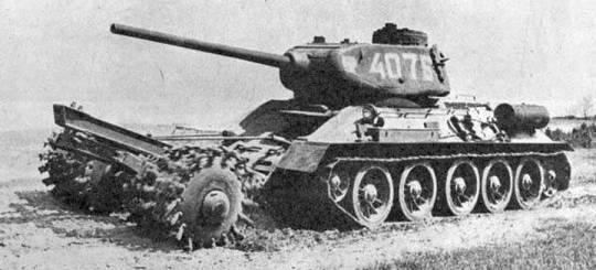 Foto photo ww2 wwii ussr t 34 85 mine sweeper tanks of great patriotic