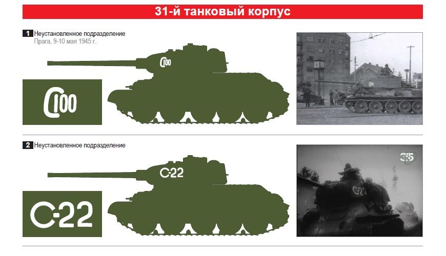 Опознавательные знаки 31-й танковый корпус. Т-34-85